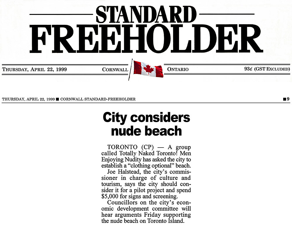 Cornwall Standard Freeholder 1999-04-22 - Hanlan's Point CO-zone proposed by Simm's brief to Council